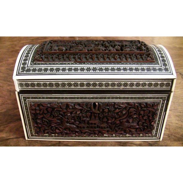 19c Anglo Indian Heavily Carved Padouk and Sadeli Double Caddy For Sale - Image 11 of 12
