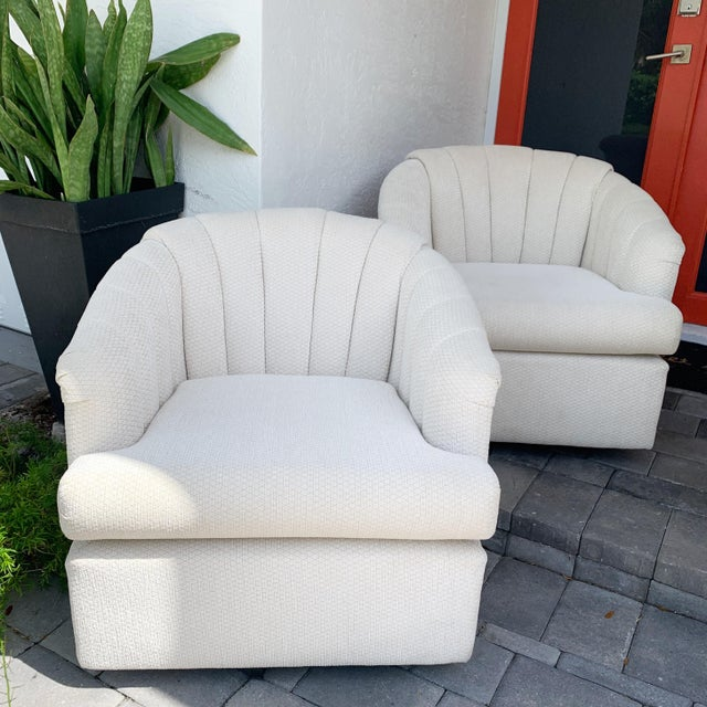 Channel Back Club Chairs in the Manner of Kagan - a Pair For Sale - Image 11 of 13