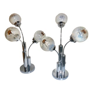 Mid-Century Modern Mazzega Glass Table Lamps- a Pair For Sale