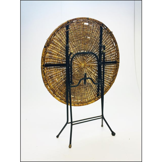 Mid Century Modern Wicker & Iron Round Folding Side Table For Sale - Image 10 of 11