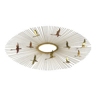 1960s Brutalist Curtis Jere Brass Starburst With Birds in Flight For Sale