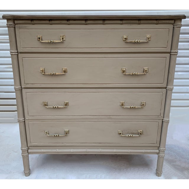 Mid-Century Painted Faux Bamboo Tall Chest For Sale - Image 4 of 4