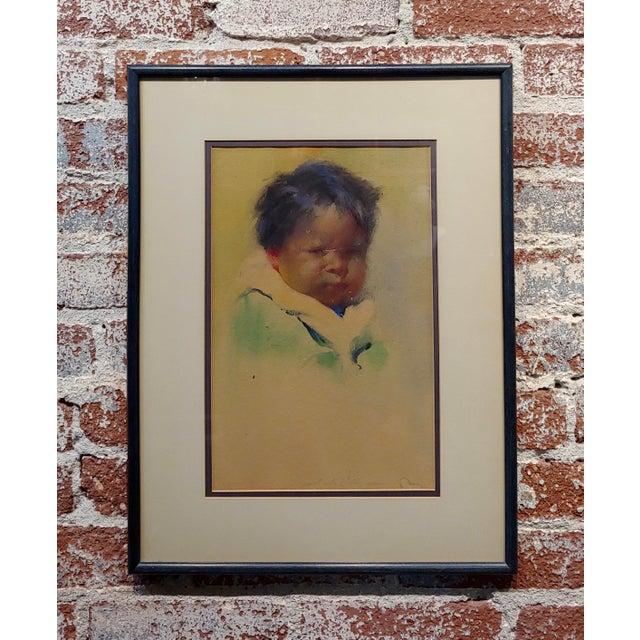 "Gerald Cassidy ""Portrait of a Pueblo Boy"" Taos Painting C.1916 For Sale - Image 10 of 10"