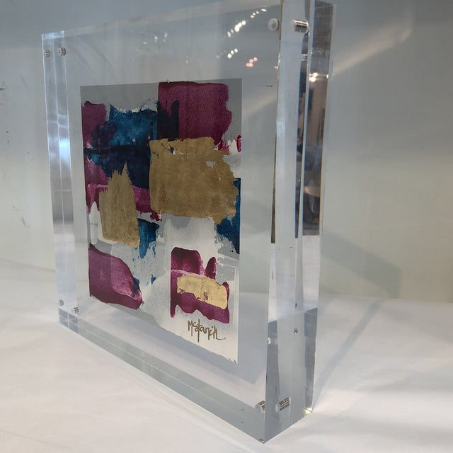 Original fine art by Michele Stancil floating in lucite
