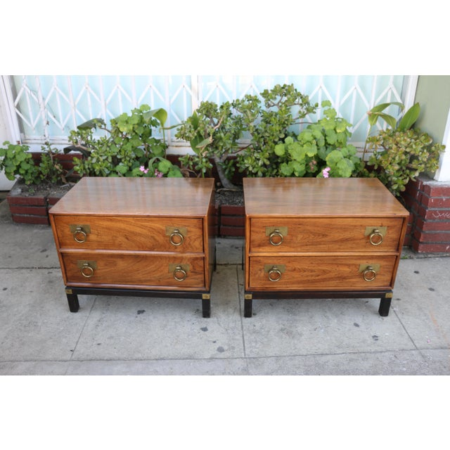 Beautiful pair of 2 tone wood nightstands in good condition. Drawers slide out well and all handles are complete. No...