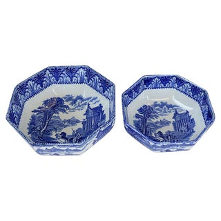 Flow Blue Chariots Serving Bowls - Pair For Sale