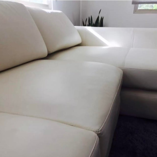 T35 White Leather Sectional Sofa With Lights - 3 PC. For Sale - Image 4 of 6