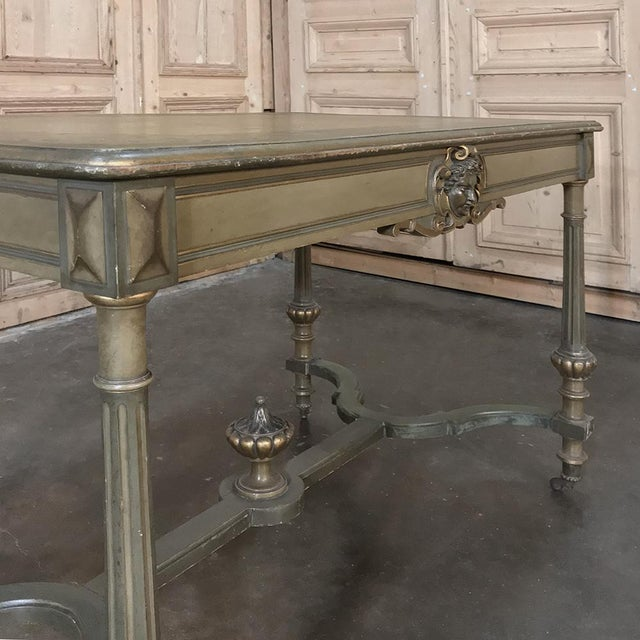 19th Century French Louis XVI Painted End ~ Library Table For Sale - Image 9 of 12