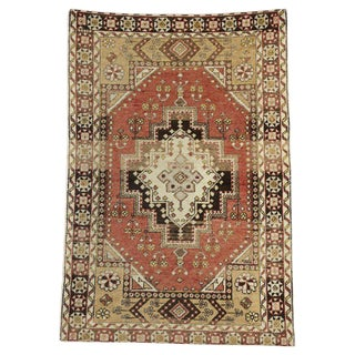 20th Century Rustic Lodge Turkish Oushak Accent Rug - 4′4″ × 6′11″ For Sale
