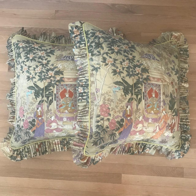 Custom Cowtan and Tout Print Euro Shams - a Pair For Sale In Greensboro - Image 6 of 6