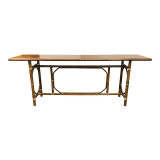 Vintage McGuire Bamboo + Leather Console Table For Sale