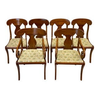Mid 20th Century Solid Cherry Henkel Harris Empire Style Brewster Dining Chairs - Set of 6 For Sale