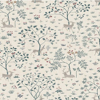 "Lewis & Wood Voysey Park Cluny Extra Wide 52"" Botanic Style Wallpaper Sample For Sale"