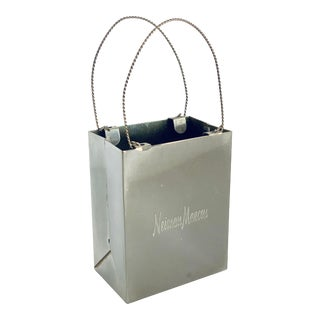 1980's Vintage Neiman Marcus Miniature Sterling Silver Shopping Bag For Sale