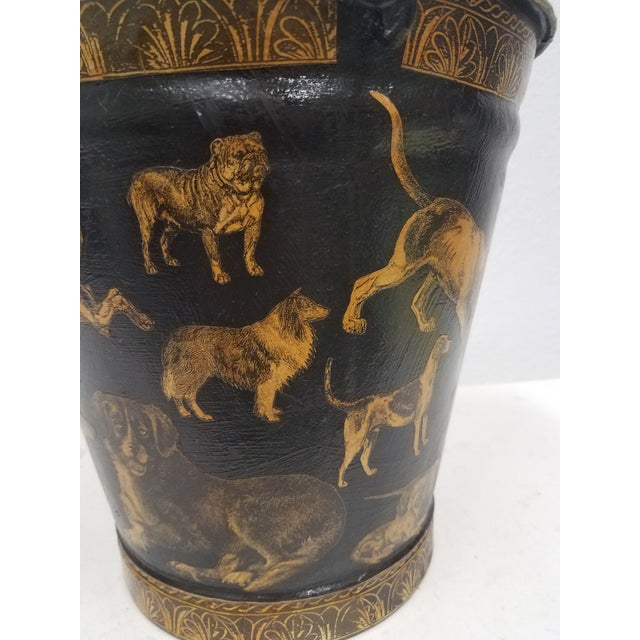 English Antique Bucket / Pail With Decoupage Dogs - Found in Southern England For Sale - Image 4 of 13