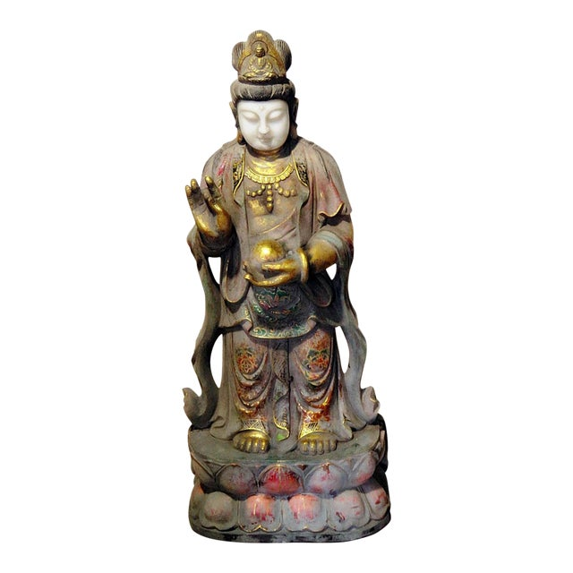 Early 20th Century Figural Oriental Marble Statue For Sale