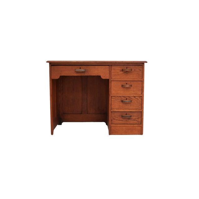 Small Oak Panel Desk - Image 2 of 5