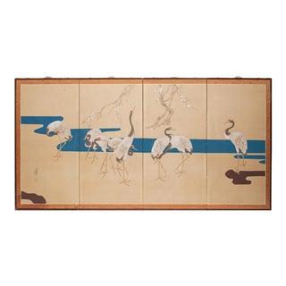 Early 20th C. Japanese Four Panel Byobu Screen