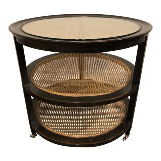 Transitional Swaim 3 Tier Cane Side Table For Sale