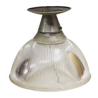 Glass and Steel Holophane Flush Mount Fixture For Sale