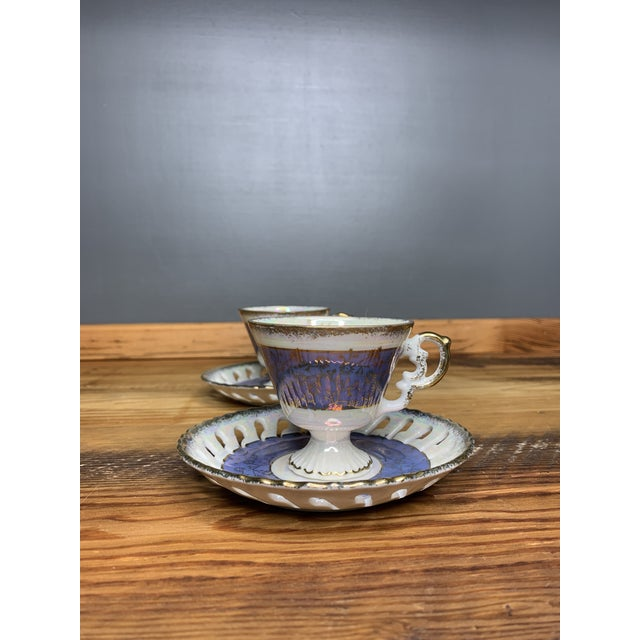 Vintage Blue and Pearlescent Tea Set For Sale In Atlanta - Image 6 of 11