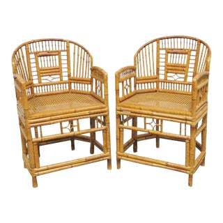Mid-Century Modern Bamboo Arm Chairs - a Pair