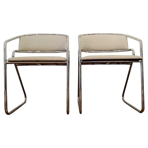 Italian Chrome Modernist Chairs - A Pair - Image 5 of 6