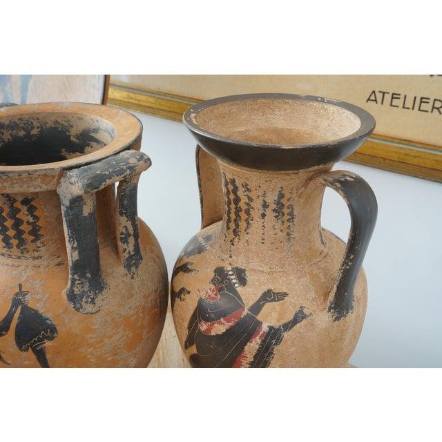 Vintage 1930s Ancient Greek Painted Terra Cotta Garniture - Charger Plate and Two Vases For Sale - Image 11 of 13
