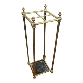 Art Deco Brass Iron Umbrella Stand For Sale