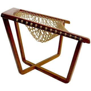 Rope Net Sling Chair With Exposed Oak Frame For Sale
