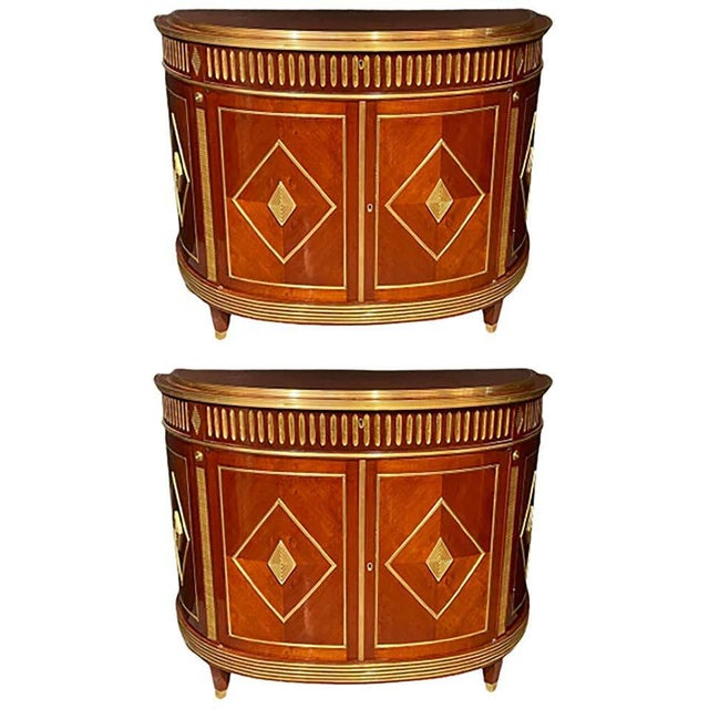 Pair of Mahogany Demilune Servers, Commodes Nightstands, Russian Neoclassical For Sale - Image 13 of 13