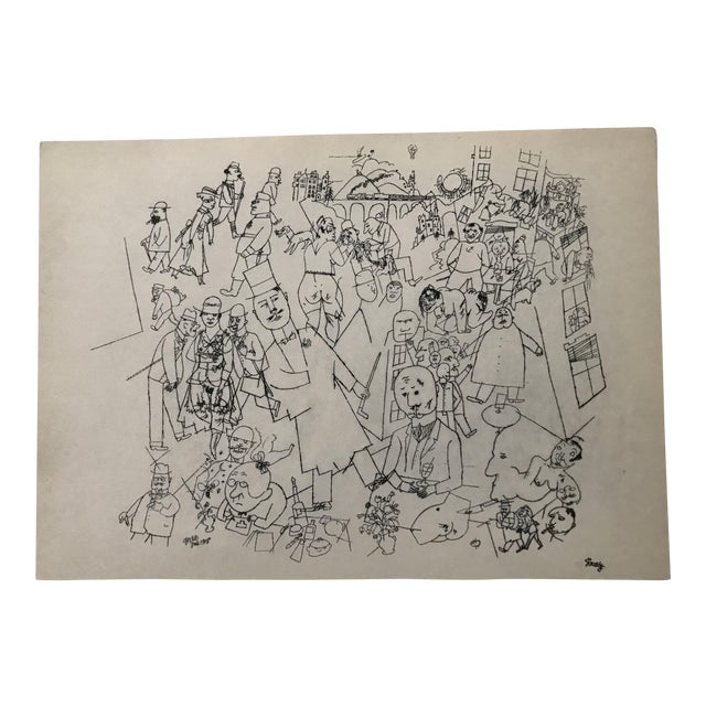 Early 20th Century Antique George Grosz Our World Print For Sale