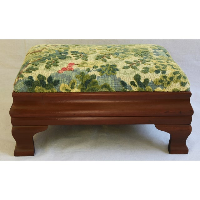 Early 1900s Foot Stool w/ Scalamandre Marly Velvet Fabric - Image 2 of 11