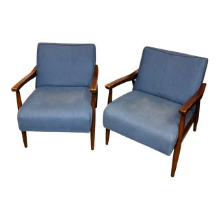 1950s Mid Century Modern Baumritter Walnut Club Chairs - a Pair For Sale