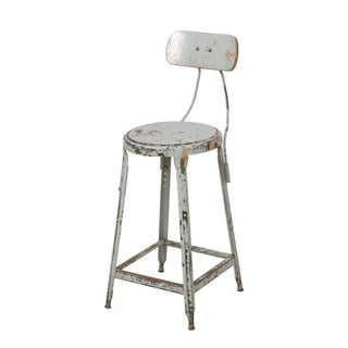 Vintage Industrial Rustic Green Stool For Sale