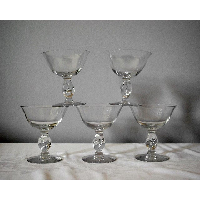 Transparent 1950s Vintage Imperial Twist Champagne Glass Coupes - Set of 5 For Sale - Image 8 of 8