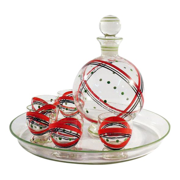 Czech Glass Decanter Set - Set of 7 For Sale
