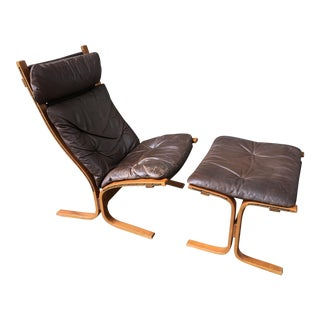 Westnofa Lounge Chair and Ottoman Designed by Ingmar Relling in Brown Leather For Sale