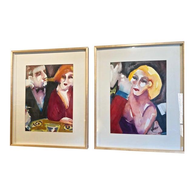 Cabaret Scene Framed Watercolor Paintings by Sandra Jones Campbell - Set of 2 For Sale
