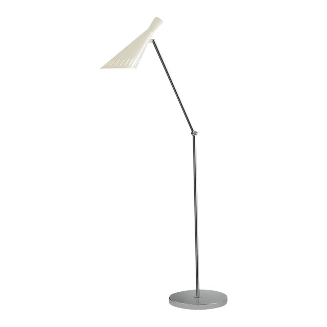 Metro Ivory With Polished Chrome Floor Light For Sale
