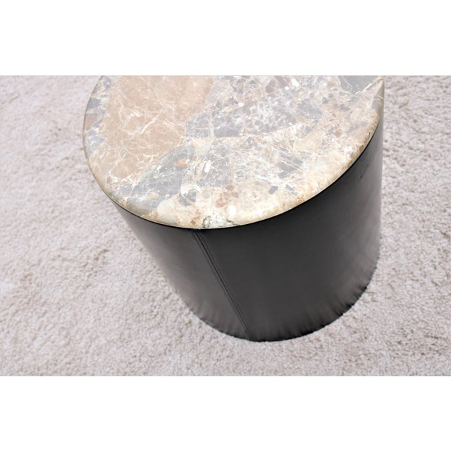 Mid Century Modern Paul Mayen Style Brown Marble Top Drum Side Tables - a Pair For Sale - Image 11 of 13