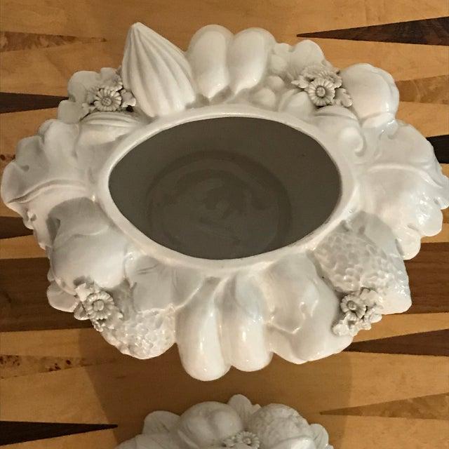 Italian White Ceramic Fruit Basket Centerpiece For Sale - Image 11 of 12