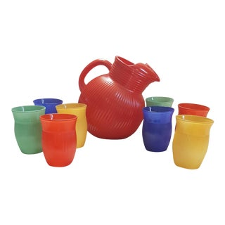 Hazel-Atlas Tilt Ball Pitcher and 8 Juice Glasses