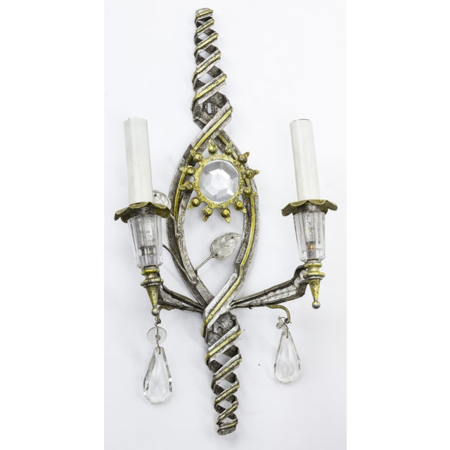 Mid-Century Modern Banci Firenze Superb Pair of Gold and Silver Leaf Pearly Sconces For Sale - Image 3 of 6