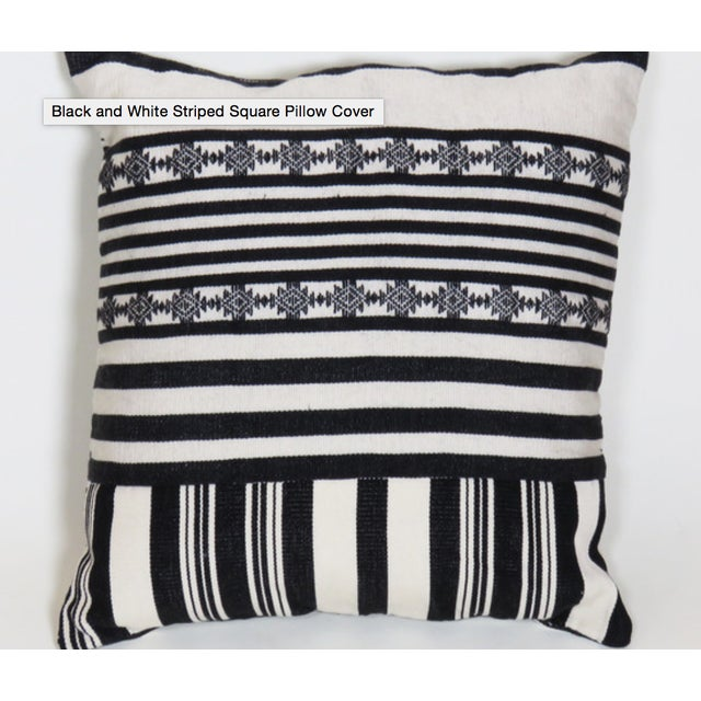 Black & White Striped Square Pillow Covers - Pair - Image 3 of 4