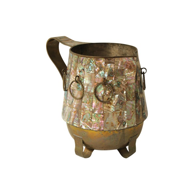 Salvador Teran Abalone Shell & Brass Pitcher For Sale