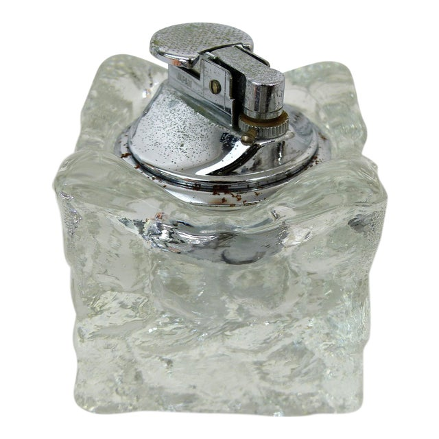 Mid-Century Glass Ice Cube Lighter For Sale