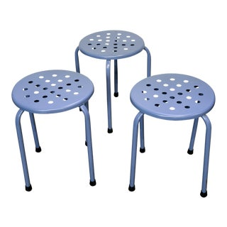 1960s French Perforated Blue Stools - Set of 3 For Sale