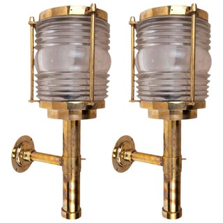 Mid-Century Ship's Brass Passageway Lights With Fresnel Lens - a Pair For Sale