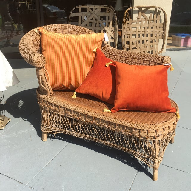 Vintage boho wicker chaise lounge chairish for Chaise lounge atlanta